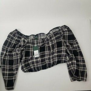 Wild Fable Black brown Plaid Pull Over Crop Top